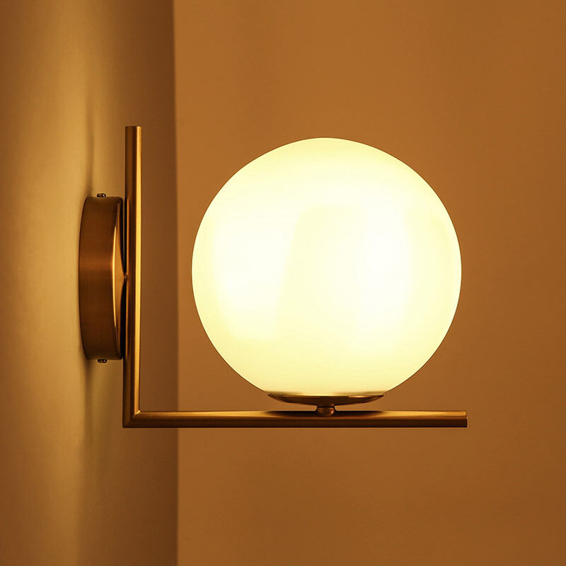 Modern White Globe Glass Lamp Shade LED Single Light Indoor Wall Light Sconce