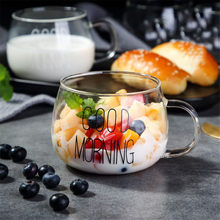 Coffee Glass Mug Black White Letter Milk Tea Coffee Cup Cocktail Glass Crystal Transparent Mugs Handle Drinkware Couple Gifts(China)