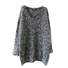Women\'s Fashion Loose Round Neck Long Sleeve Knitted Solid Color  Sweaters Pullovers  Fashion  Simple Tops Sweater Hot Sale round neck solid color stylish long sleeve men s sweater