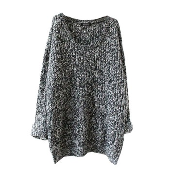 Women\'s Fashion Loose Round Neck Long Sleeve Knitted Solid Color  Sweaters Pullovers  Fashion  Simple Tops Sweater Hot Sale цена 2017
