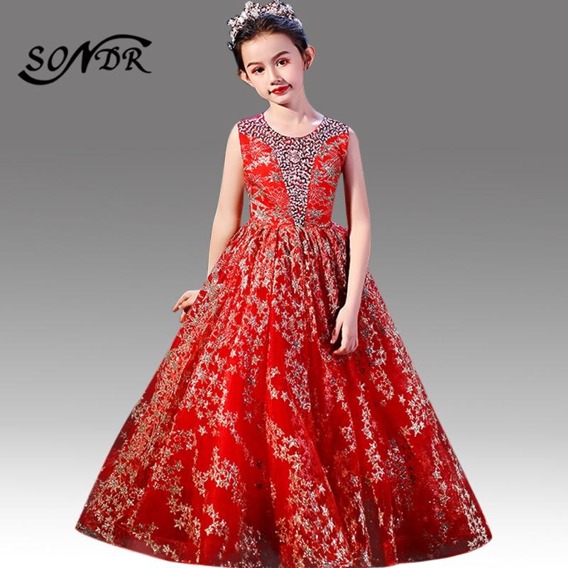 Sparkling Sequin Flower Girl Dresses HT171 O-Neck Tank Formal Communion Dresses Stars Pattern Little Girls Princess Ball Gowns
