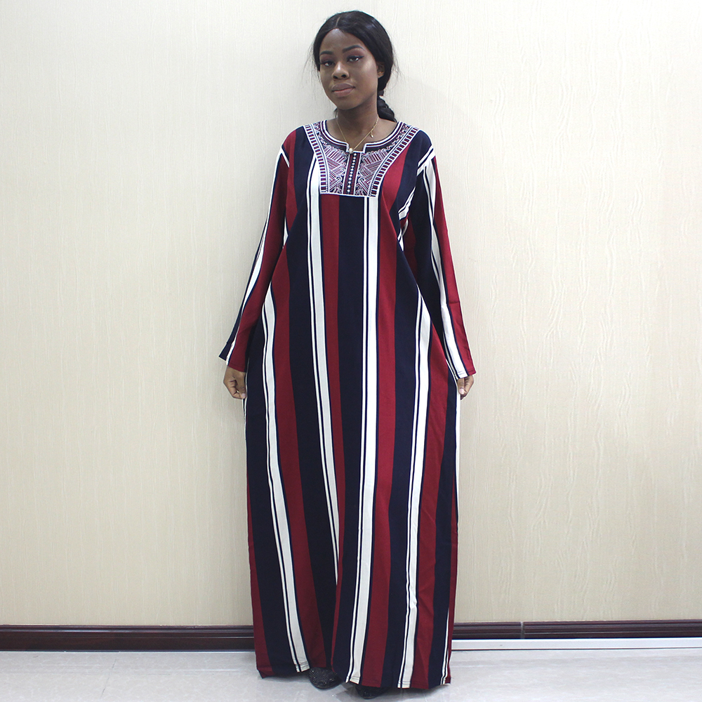 African Fashion Dashiki Women Dresses Appliques 100% Cotton Long Sleeve Long Dress For Women