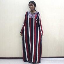 Afrika moda Dashiki kadın elbiseler aplikler 100% pamuklu uzun kollutişört uzun elbise kadınlar için