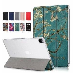 Tri-fold transparente soporte ligero Delgado Funda de cuero para iPad Pro 12,9