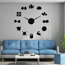 Wall-Clock Fitness Workout Sports Stickers Gift Frameless Large DIY Giant with Art Dumbbell