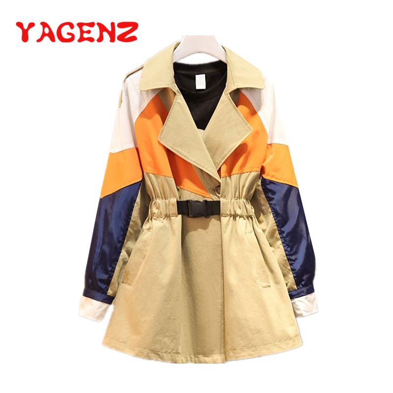 YAGENZ Plus size   Trench   Coat For Women Clothes Spring Autumn   Trench   Coat Slim Outwear Femenino Windbreaker Coats Ropa Mujer 667