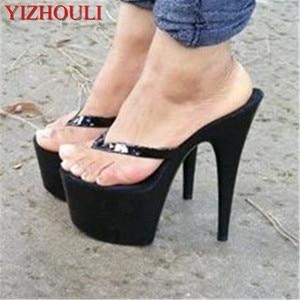 Modieuze 15cm tall prinses slipper, sexy nachtclub hoge hak is gebakken lak slipper(China)