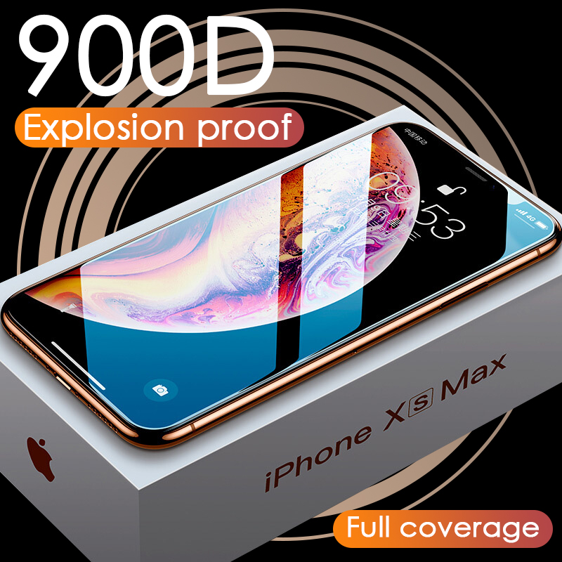 Luxury 900D Glass For iPhone 11 Pro XS MAX XR X Screen Protector Curved Tempered Glass For iPhone XR 10 7 8 6 6s Plus Cover Film