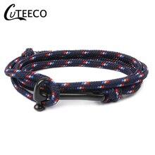 CUTEECO Anchor Bracelets Men Charm Survival Rope Chain Paracord Bracelet Male Wrap Metal Sport HookeD 2019 New Fashion Black