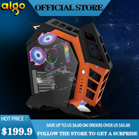 aigo K1 ATX desktop computer case DIY special shaped personality style gaming Tempered glass gabinete pc case gamer Chassis