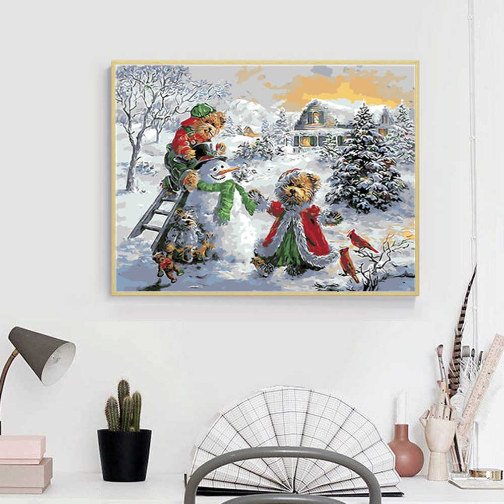 Azqsd Diy Christmas Gift Paint By Number Canvas Painting Kits Winter Landscape Coloring Numbers Snowman Home Decoration Aliexpress