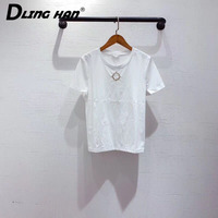 LINGHAN Fashion crystal brooch cotton T shirt Casual Short sleeve All match Tees Tops Designer Spring Summer New