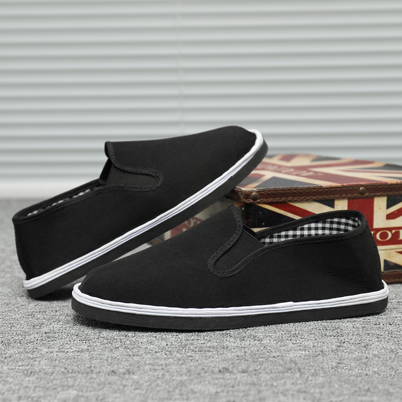 Old Beijing Cloth Shoes Men Driver Work Shoes Autumn & Winter Slip-on Loafers Middle-aged Father Black Fabric Shoes Men's
