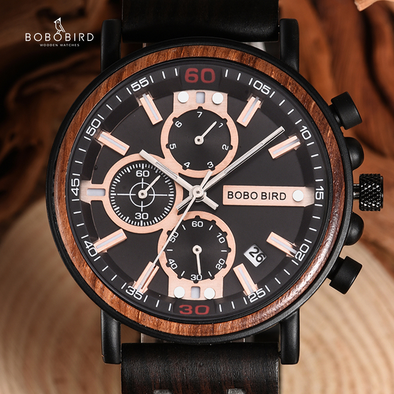 BOBO BIRD Mens Wood Watches Top Brand Luxury Military Stainless Steel Chronograph Wristwatch Grooms Gift Relojes Para Hombre