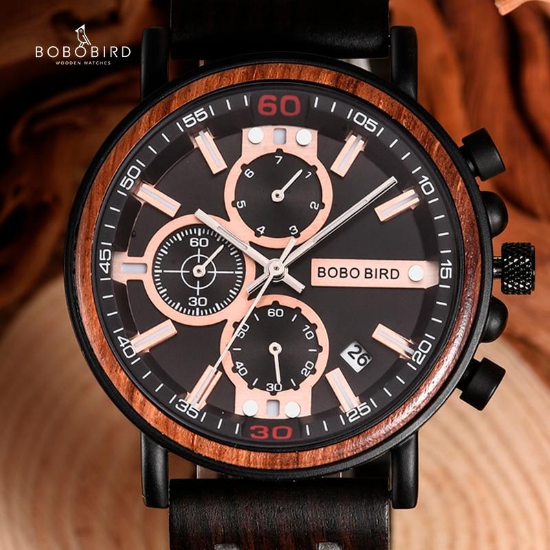 BOBO PÁSSARO Madeira Mens Relógios Top Marca de Luxo Militar relógio de Pulso Cronógrafo De Aço Inoxidável Noivos Presente relojes para hombre