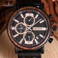 BOBO BIRD relojes de madera para hombre, relojes de pulsera militares de lujo de acero inoxidable con cronógrafo, relojes de regalo para hombre