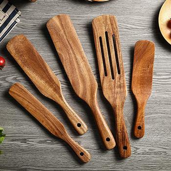 Drewniane zestaw naczyń kuchennych akacja Spurtle zestawy kuchenne non-stick drewniane do żywności naczynia łopatka z rowkiem Spurtle łopatka zestawy tanie i dobre opinie CN (pochodzenie) Drewna Jednorazowe Ekologiczne Na stanie CE UE Lfgb Zestawy przyborów do gotowania