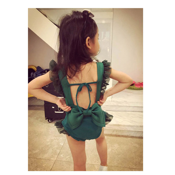 Baby girl swimsuit girl cute little princess cloting Children's swimsuit lace bow bow backless swimsuit green фото