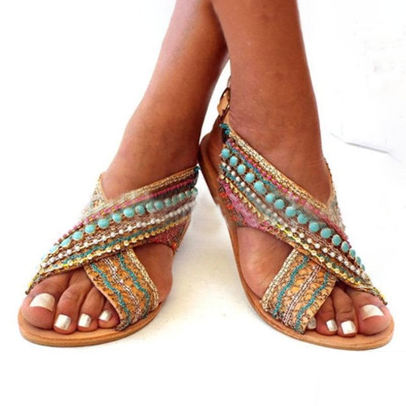 WENYUJH Women Sandals Summer 2020 Shoes Boho Bead Woman Peep-toe Sandals Slip-on Flat Sandals Female Sandalias