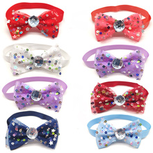 30 Pcs Pet Dog Grooming Product Bowknot & Diamond Puppy Cat Bow Tie Adjustable Collar For Small medium