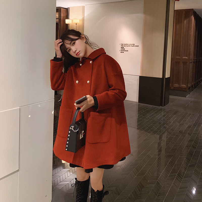 MISHOW Women Winter Festival Style Woolen Coat Causal Double Breasted Straight Loose Red Jacket Tops MX19D9723