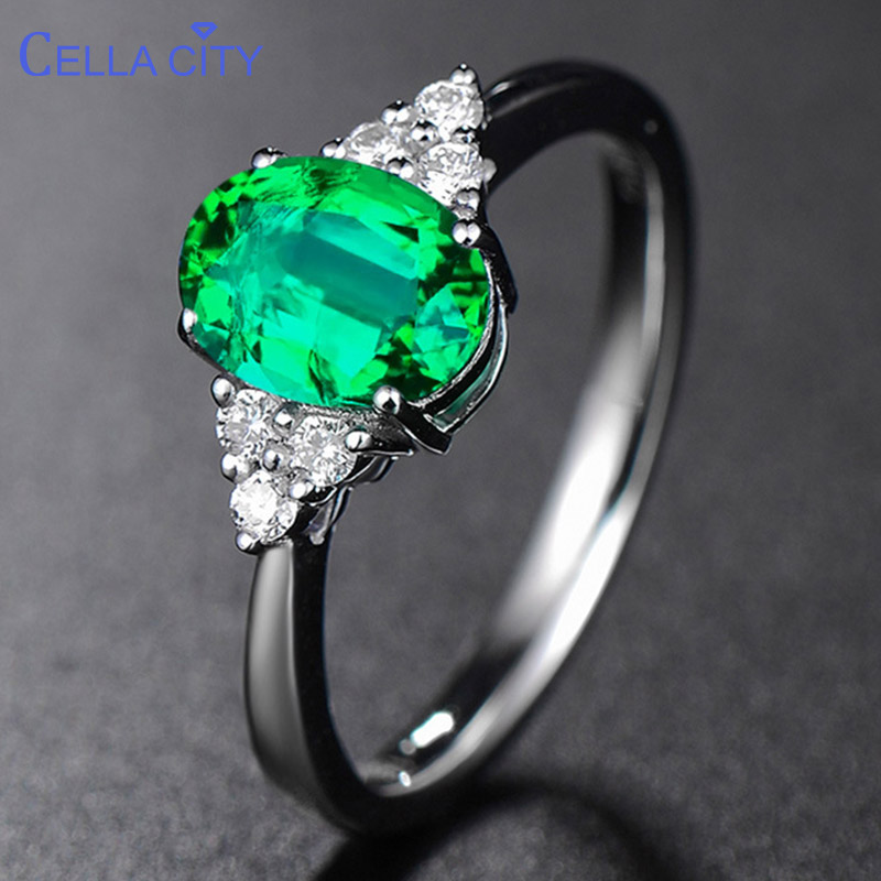 Cellacity 925  Silver Ring With Green Emerald Gemstone Silver Luxury Woman  Jewelry Open Adjust Size Classicparty Gift Wholesale