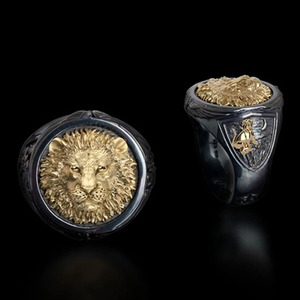 Винтажные панк кольца на палец с черной золотой головой льва для мужчин, Панк ювелирные изделия, готические байкерские крутые мужские кольц...