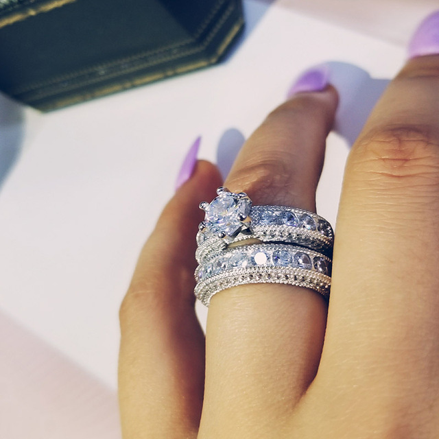 925 Sterling Silver luxury bold big wedding Rings set for bridal Women Engagement african finger christmas gift Jewelry r4428