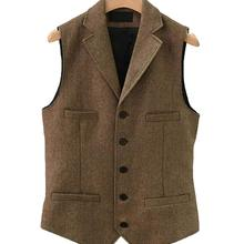 2019British style Men's Casual Tweed suit Vest Slim Fit Notch Lapel custom made