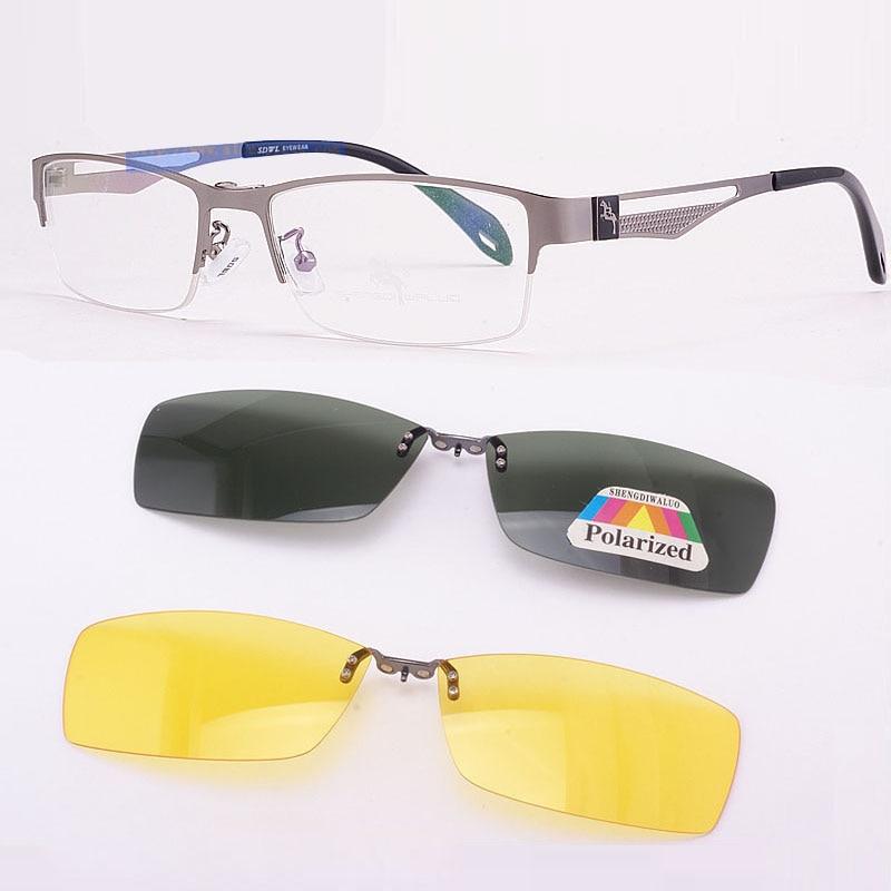 Stainless Steel Glasses Frame For men Brown 2PCS Magnetic Sunglasses Clip UV400 Yellow Polarized Night Vision