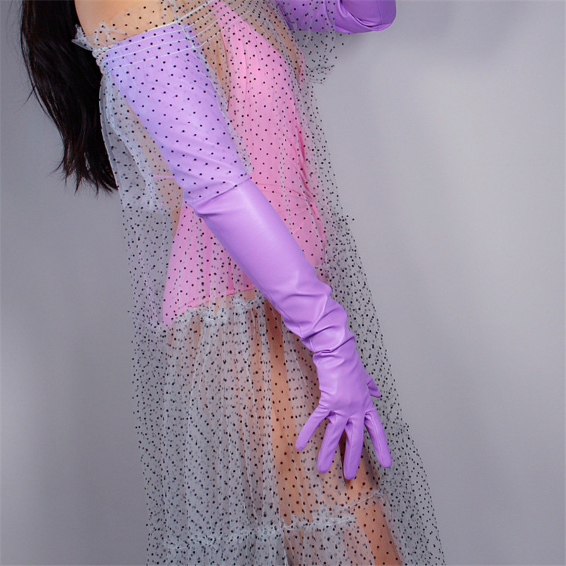 "EXTRA LONG FASHION GLOVES Faux Leather Sheepskin 28"" 70cm Evening Women Long Leather Gloves Light Purple Lavender WPU186"