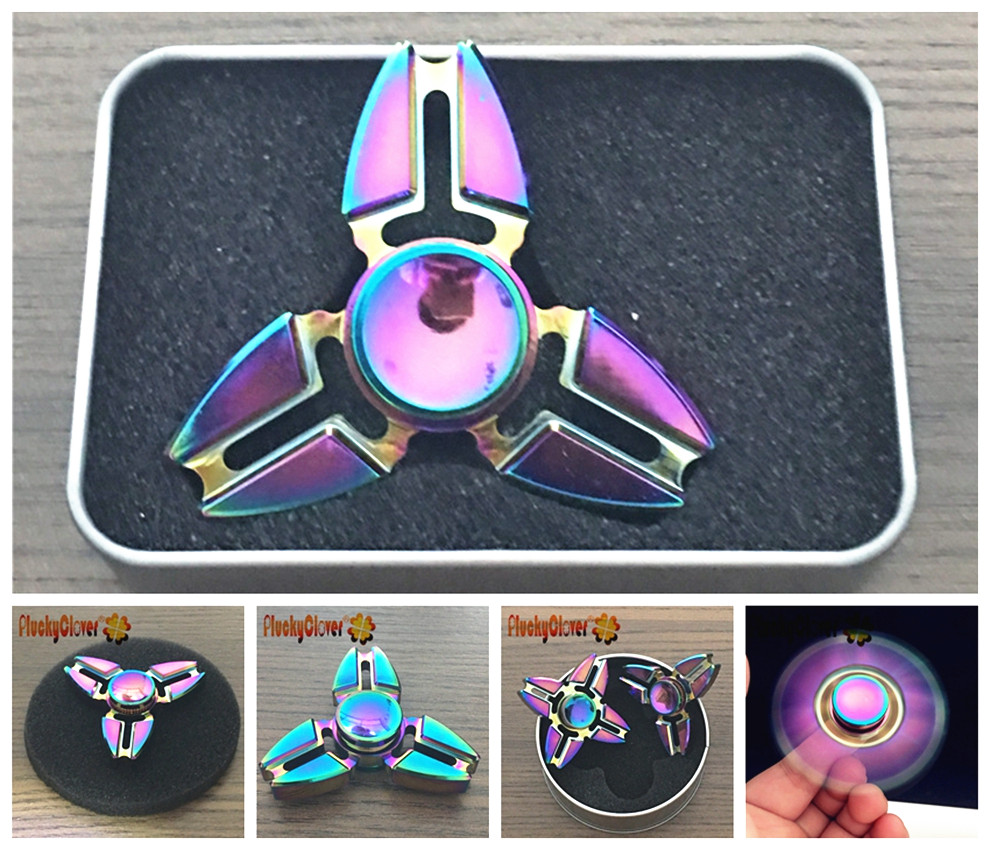 Fidget Spinner High Quality Metal With LED Lights Long Spin Time 6 Colors
