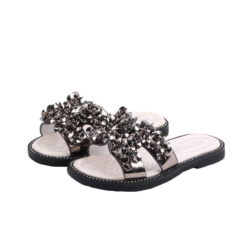 Children's Slippers Summer Korean Girls' Beach Sandals Sequined Princess Open-toe Non-slip Shoes Glitter Medium Big Kids' Flats