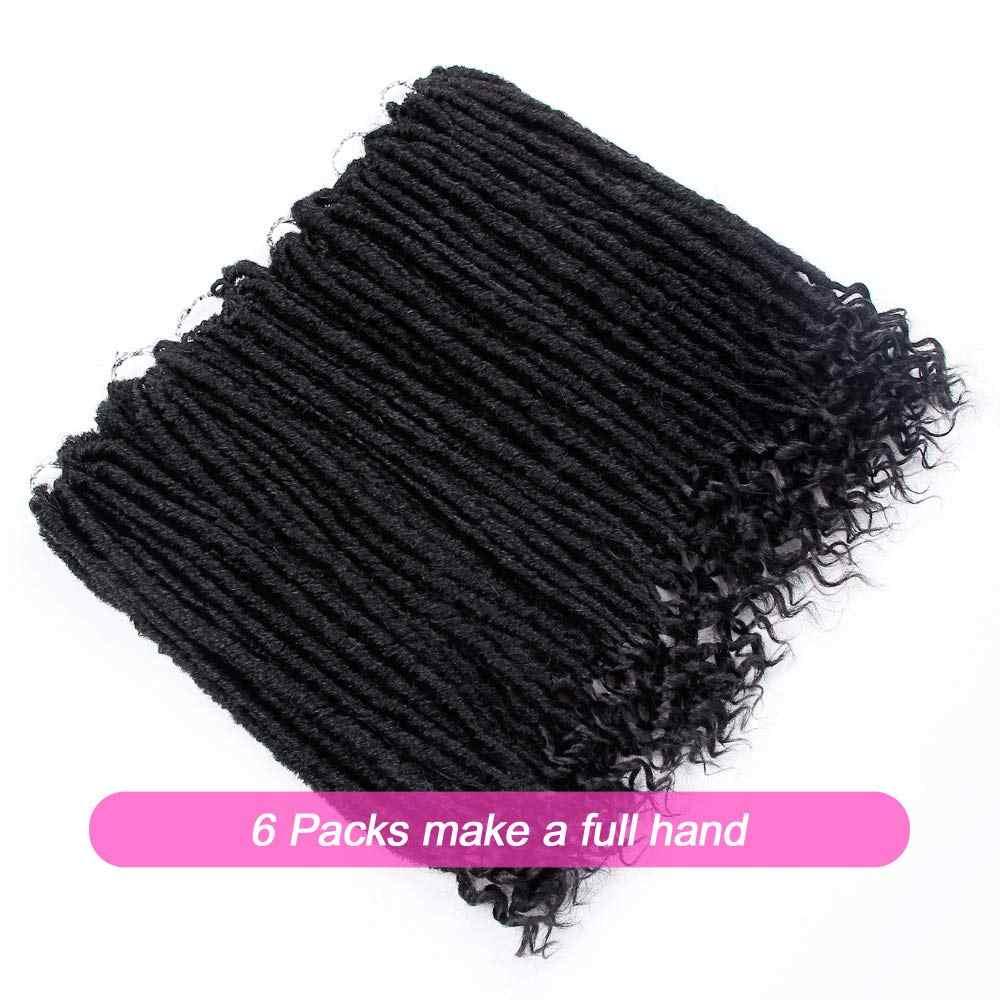 Bogini Faux Locs szydełkowe włosy prosto bogini Locs z kręconymi końcami syntetyczne włosy plecione szydełkowe włosy warkocz z włosów dla czarnych kobiet inteligentny warkocz