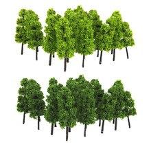 20 pçs pagode modelo árvores trem ferroviário cenário layout diorama jardim parque decoração acessório escuro & luz verde 1/100 ho oo escala