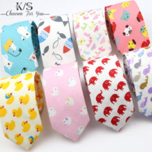 New Men's Cartoon Print Tie For Men Women Skinny Colourful Cotton Necktie Duck Bear Banana Fruits 6CM Narrow Funny Cravate Gift