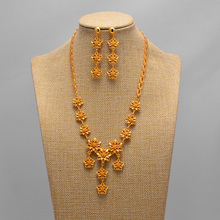 African Flower Dubai Gold Jewelry set Women African Set Nigerian Bridal Jewelry Sets necklace earring Wedding Accessories luxury dubai jewelry sets women crystal gold wedding accessories flower necklace wedding african beads jewelry set costume