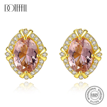 DOTEFFIL New Genuine 925 Silver Luxury Gemstone Stud Earrings for Women Big Oval Morganite Engagement Earrings Jewellery Brincos