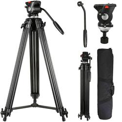 75inch Professional Video Tripod Heavy Duty Aluminum Tripod with 360 Degree Fluid Head for Canon/Nikon/DSLR/Camcorder Cameras