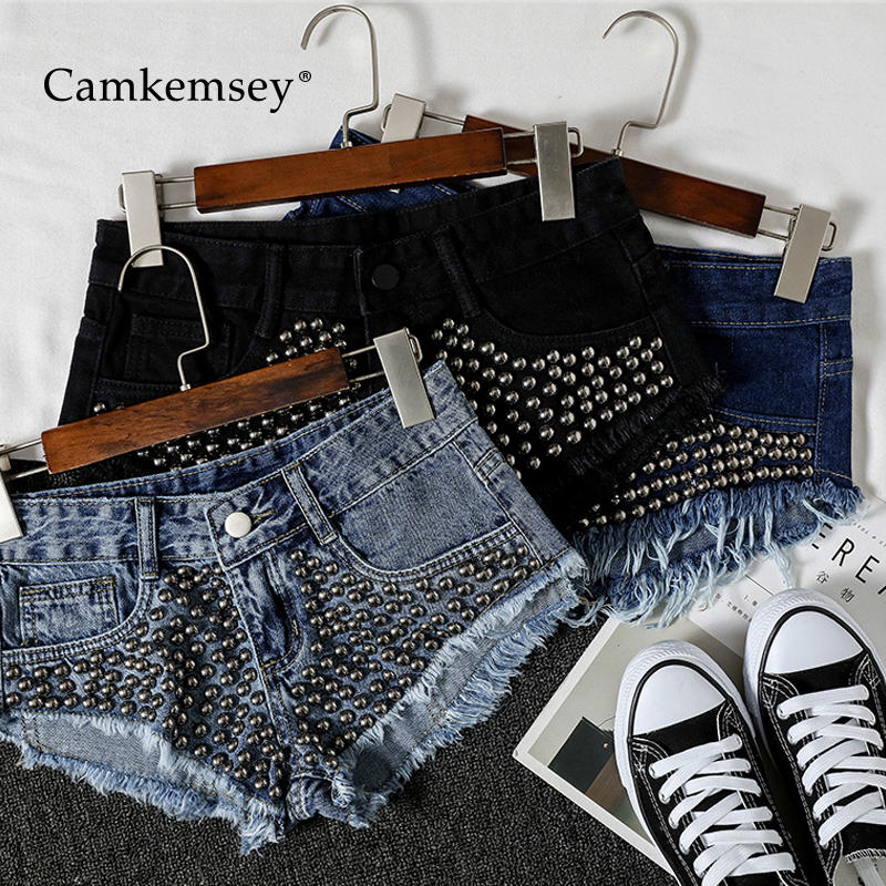 CamKemsey Hot Girls Barwear Punk Rivet Summer Denim Thong Shorts 2020 Sexy Party Club Mini Bikini Shorts