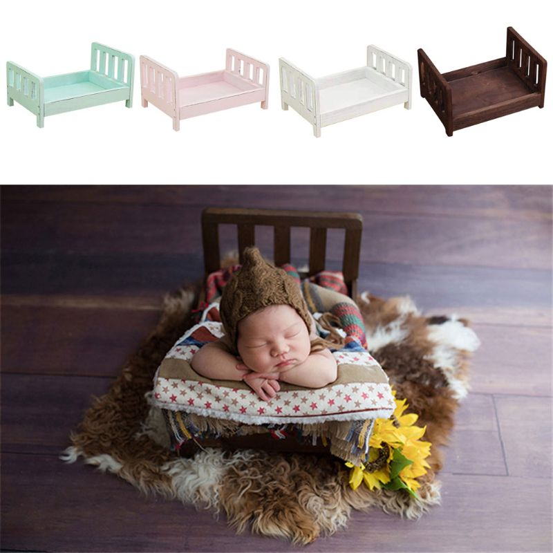 Newborn Photography Props Wood Bed Infant Poses Detachable Background Props