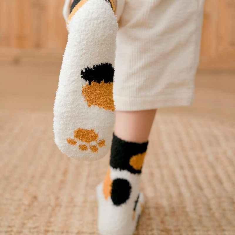 1 Đôi Sang Trọng Nỉ Mặc Tất Nữ Ống Tất Mùa Thu Và Mùa Đông Mèo Móng Vuốt Dễ Thương Dày Ấm Thể Thao
