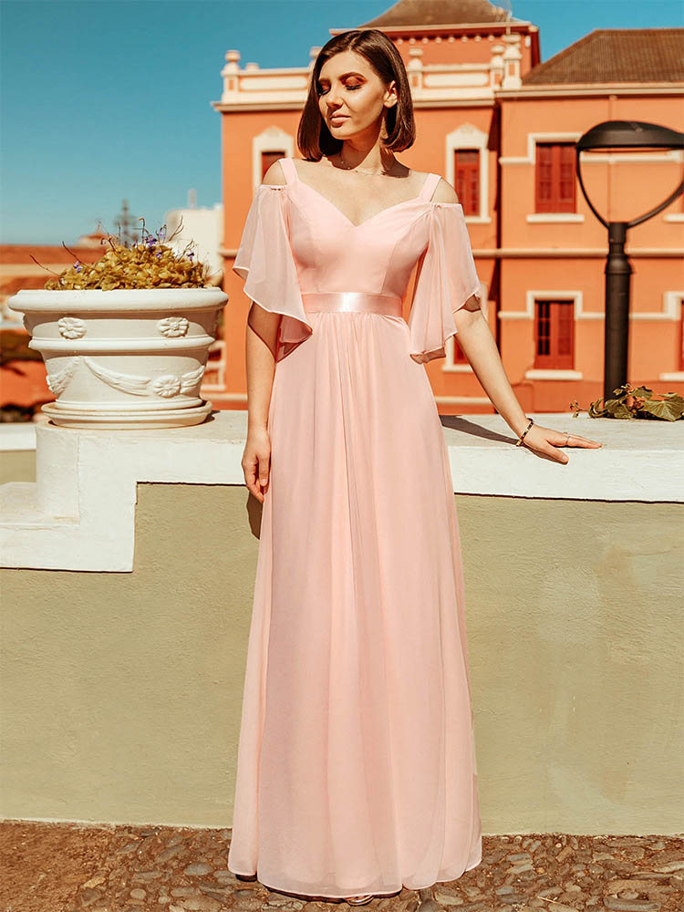 Bridesmaid Dresses Wedding-Party-Robe Elegant Pink Ever Pretty Off-The-Shoulder V-Neck