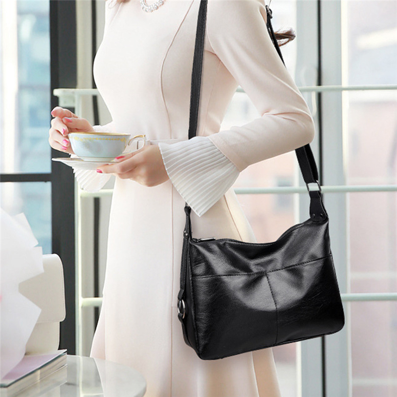 Ladies Casual Shoulder Messenger Bag Soft PU Leather Large Capacity Zipper Tote Bag Mummy Outdoor Sundries Storage Bag