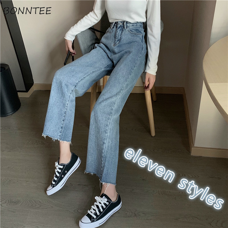 Jeans Women Loose Straight Streetwear Wide-leg High Waist Denim Pocket Irregular Cropped Korean Style All-match Simple Retro New