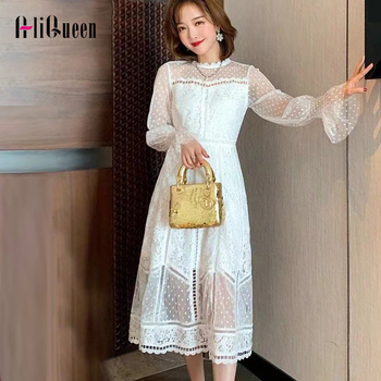 2020 Korean Women Sweet Sexy Hollow Out Mesh Patchwork Lace Dress Elegant Ladies Spring white Flare Sleeve Vintage Party Dresses