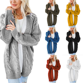 New Winter Long Sweater Women Cardigan Loose  Coat Warm Solid Female Knitted Jumper Top Clothes