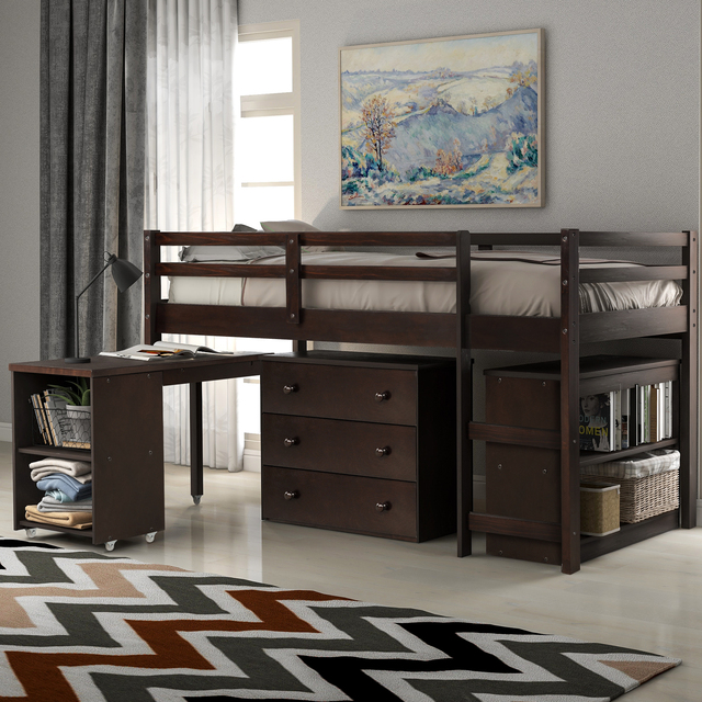 Twin Loft Bed with Cabinet and Desk 1