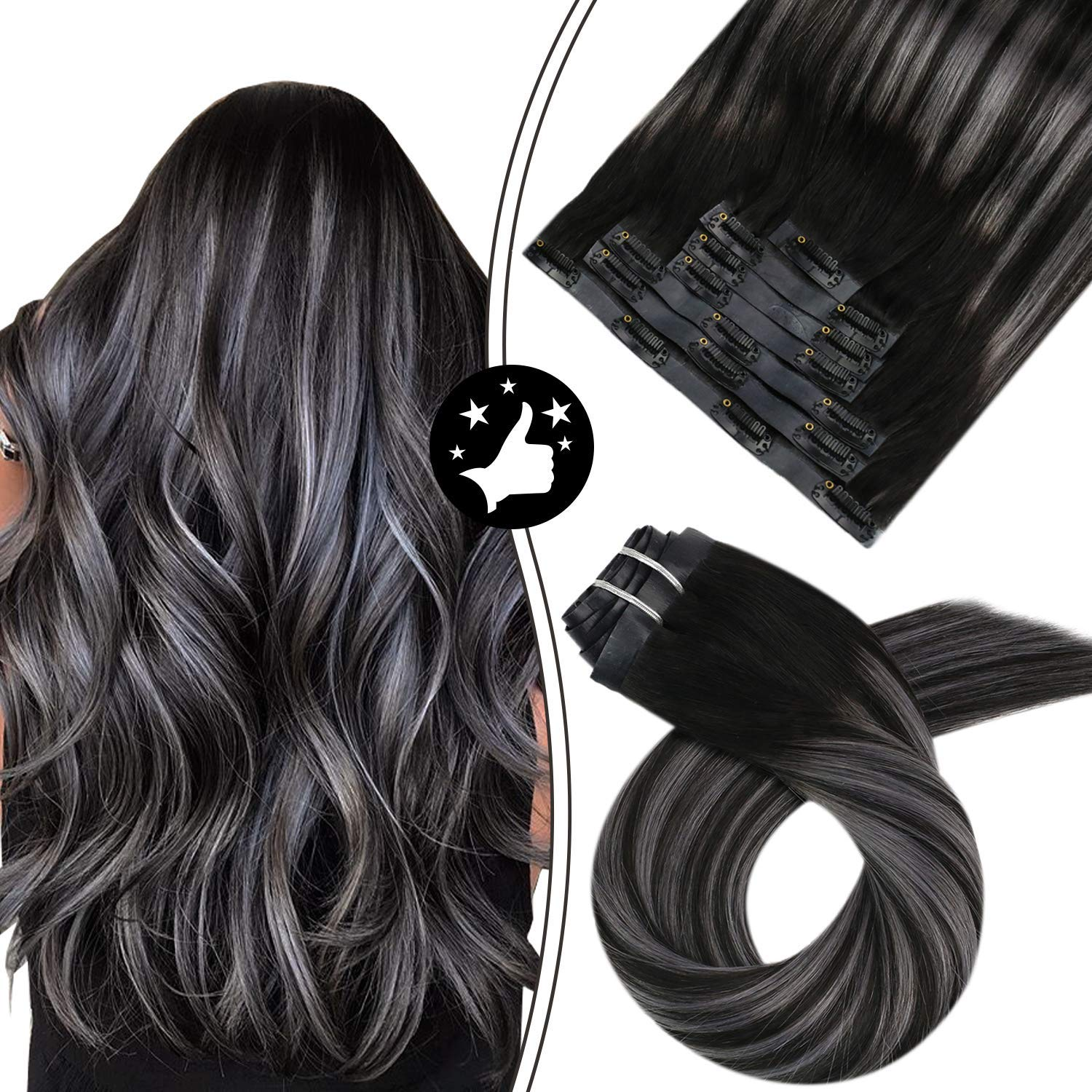 PU Clip in Hair Extensions 100% Real Human Hair Balayage Off Black to Silver Silky Straight 7PCS 100G Seamless Clip in Hair