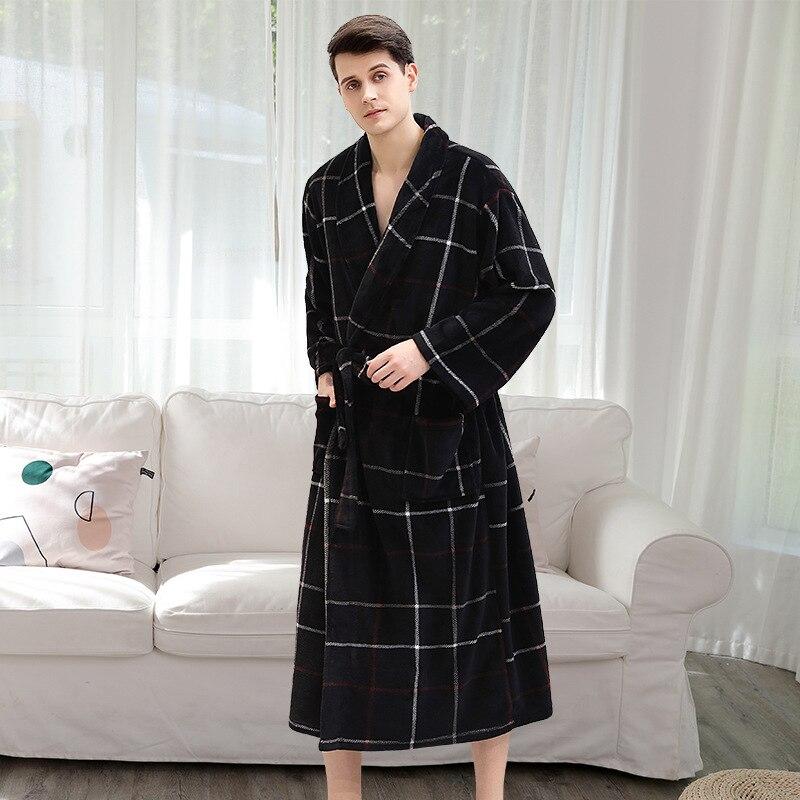 Men Winter Bathrobe Sleepwear Roupao De Banho Couple Warm Thick Flannel Velvet Bath Robe Homewear With Belt